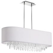 Dainolite JAS-41C-PC-900 8 Light Oval Crystal Chandelier with White Lycra Shade
