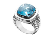 FineJewelryVault UBRT14W14HBT-101 Blue Topaz Rope Ring : 14K White Gold - 10.00 CT TGW - Size