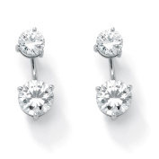 PalmBeach Jewelry 50691 5.80 TCW Round Cubic Zirconia Platinum Over Sterling Silver 2-in-1 Stud and Drop Earrings