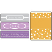 Sizzix 657382 Sizzix Textured Impressions Embossing Folders 4-Pkg-Birthday-Congrats-Thanks With Borders