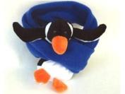 BearHands S-PNG-CBL Scarf Fleece Penguin on Cobalt Blue