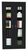 Assembled Clear View Storage Cabinet, 36w x 18d x 72h, Black