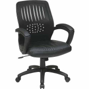 Office Star EM59722-EC3 Screen Back Over Designer Contour Shell Chair with Black Eco Leather Seat and Black Eco Leather Padded Arms- Black Eco Leather