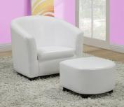 Monarch Specialties I 8104 White Leather-Look Juvenile Chair - Ottoman 2Pcs Set