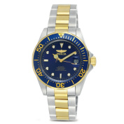 Invicta 8928 Mens Automatic Pro Diver on a Stainless Steel & Goldtone Bracelet With a Blue Dial & Bezel