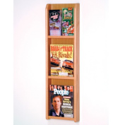 Wooden Mallet LM-4LO Divulge 3 Magazine and 6 Brochure Wall Display with Brochure Inserts in Light Oak