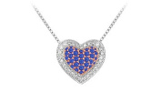 FineJewelryVault UBMYP064DS-101 Blue Sapphire and Diamond Heart Pendant : 14K White Gold - 0.75 CT TGW