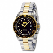 Invicta 8927 Mens Automatic Pro Diver on a Stainless Steel & Goldtone Bracelet With a Black Dial and Bezel