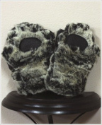 BearHands KX1000G-B Youth Small Faux Fur Mittens Grey-Black