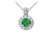 FineJewelryVault UBPD462W14DE-101 Emerald and Diamond Pendant : 14K White Gold - 1.25 CT TGW