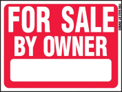 "Hy-Ko Prod RS-605 Sign, ""For Sale By Owner"", Red & White Plastic, 46cm x 60cm ."