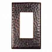The Copper Factory Solid Hammered Copper Single GFCI Plate in Antique Copper Finish - CF121AN
