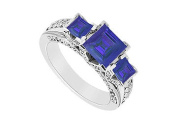 FineJewelryVault UBJ7940W14DS-101 Sapphire and Diamond Engagement Ring : 14K White Gold - 2.75 CT TGW - Size