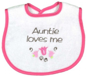 Dee Givens & Co-Raindrops 6315 Auntie Loves Me Girl Small Bib - Strawberry