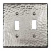 The Copper Factory Solid Hammered Copper Double Switch Plate in Satin Nickel Finish - CF123SN