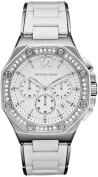 Michael Kors MK5563 Womens Stainless Steel Chronograph Quartz Silver Dial. Crystals Silicone Band