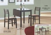 Monarch Specialties I 1078 3 Pieces Solid-Top Drop Leaf Dining Set - Cappuccino