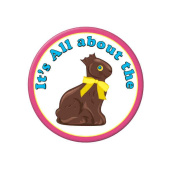 Beistle 40180 3.5 Its All About The Chocolate Bunny Button - Pack of 12