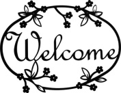 Village Wrought Iron WEL-164 Medium Floral Welcome Sign