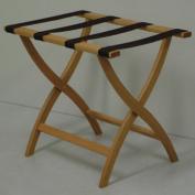 Wooden Mallet LR2-LOBRN Designer Curve Leg Luggage Rack in Light Oak with Brown Webbing - 3.5