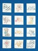 Jack Dempsey 242525 Stamped White Nursery Quilt Blocks 9 in. x 9 in. 12-Pkg-Puppies