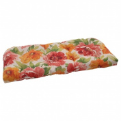Pillow Perfect 503295 Outdoor Primro Wicker Loveseat Cushion in Orange - Orange-Red-Green