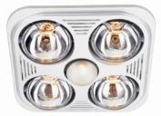 Aero Pure Bathroom Fans A716R W Aero Pure Fan- A716R White-4 Bulb Quiet Bathroom Heater Fan with Light