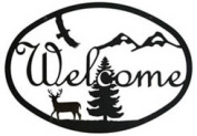 Village Wrought Iron WEL-188 Deer Welcome Sign Medium - Black
