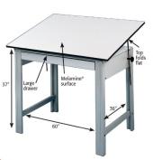 Adjustable Steel Drafting Table with Melamine Top - DesignMaster