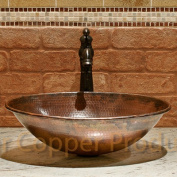 Premier Copper Products VO17WDB Oval Wired Rimmed Vessel Hammered Copper Sink, Oil Rubbed Bronze