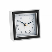 Natico 10-45888B ALARM CLOCK, BLACK ENAMEL-SILVER CASE