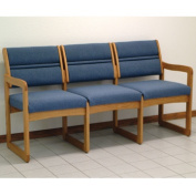 Wooden Mallet DW2-3MOPB Valley Three Seat Sofa in Medium Oak - Powder Blue