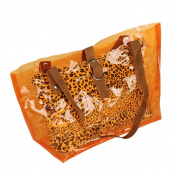 Blancho Bedding ZL618-ORANGE Lucky Orange Leopard Double Handle Leatherette Satchel Bag Handbag Purse Casual Styling