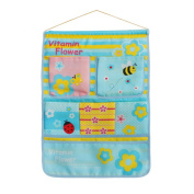 Blancho Bedding BN-WH004 Bee and Flowers Blue/Wall Hanging/ Wall Pocket Wall Organizers / Wall Baskets