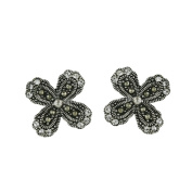 Vera and Co 2M-2283CL Sterling Marcasite 4 Petal Flower Earrings with CZ