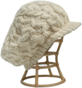 Nirvanna Designs CH401 White Cable Beret Cap with Fleece Band