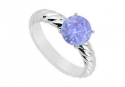 FineJewelryVault UBJS1793AW14TZ-101 Tanzanite Ring : 14K White Gold - 1.00 CT TGW - Size