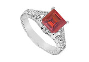 FineJewelryVault UBJ6796W14DR-101 Ruby and Diamond Engagement Ring : 14K White Gold - 1.25 CT TGW - Size