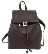 Piel 2400-CHC Leather Backpack with Drawstring Compartment - Chocolate