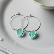 Rebecca HLSST Hoop Stone - Silver-Turquoise