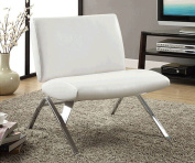 Monarch Specialties I 8074 White Leather-Look - Chrome Metal Modern Accent Chair
