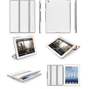 Macally BookStand3 BW Hardshell Flexible Case for the new iPad - White/Grey