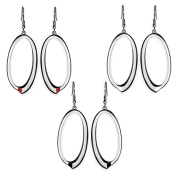 AAB Style ESS-137 Oval Stainless Steel Earrings with Optional Enamel Accent