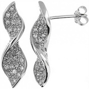 Doma Jewellery DJS01912 Sterling Silver (Rhodium Plated) Earring With CZ - 24mm Height