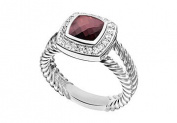 FineJewelryVault UBRT9W14DGR-101 Garnet and Diamond Rope Ring : 14K White Gold - 5.50 CT TGW - Size