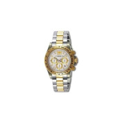 Invicta 9212 Mens Speedway Chronograph in Stainless Steel and Goldtone on Bracelet With a White Dial and Goldtone Bezel