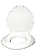 Big John Bathroom Aids Standard Elongated Closed Front Toilet Seat with Cover in White 6-W
