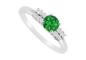 FineJewelryVault UBJS3120AW14DE-101 Emerald and Diamond Engagement Ring : 14K White Gold - 0.75 CT TGW - Size 7