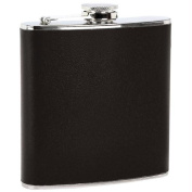 Maxam 180ml Stainless Steel Flask with Black Wrap with US Shelby P38 Can Opener