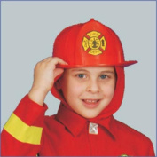 Dress Up America Firehr Red Fire Helmet Costume Accessory for Kids - One Size Fits All